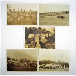 LOT OF 5 C. 1911 HARMAN PHOTOS OF A NATIVE AMERICAN FUNERAL