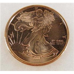 2011 ONE OUNCE .999 FINE COPPER WALKING LIBERTY ROUND COIN