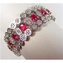 PLATINUM OVER STERLING SILVER RUBY AND SAPPHIRE BRACELET