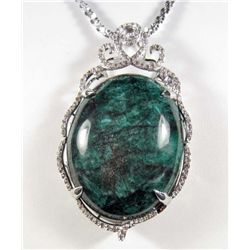 PLATINUM OVER STERLING SILVER EMERALD AND SAPPHIRE PENDANT W/ CHAIN