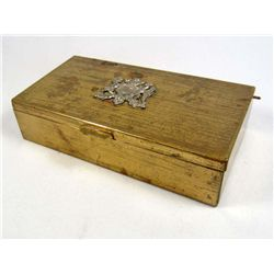 VINTAGE BRASS CIGAR BOX W/ COAT OF ARMS OF CHILE ON COVER
