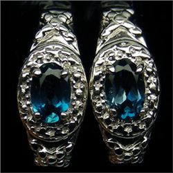 PAIR OF WHITE GOLD PLATED AAA LONDON BLUE TOPAZ AND STERLING SILVER EARRINGS