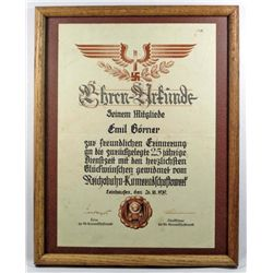 FRAMED GERMAN NAZI RAILWAY 25 YEAR SERVICE DOCUMENT