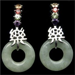 PAIR OF STERLING SILVER, JADE, AMETHYST, CITRINE, PERIDOT, RHODOLITE EARRINGS