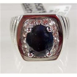 STERLING SILVER LADIES BLUE AND COLORLESS SAPPHIRE RING - SIZE 10