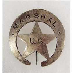 OLD WEST US MARSHAL COWBOY ERA LAW BADGE