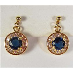 956 - PAIR OF GOLD PLATED BLUE SAPPHIRE & WHITE TOPAZ EARRINGS