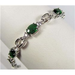 964 - WHITE GOLD PLATED EMERALD & WHITE TOPAZ BRACELET