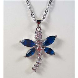 985 - WHITE GOLD PLATED BLUE SAPPHIRE & WHITE TOPAZ PENDANT W/ CHAIN