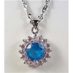 987 - WHITE GOLD PLATED AQUAMARINE & WHITE TOPAZ PENDANT W/ CHAIN