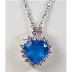 988 - WHITE GOLD PLATED AQUAMARINE & WHITE TOPAZ PENDANT W/ CHAIN