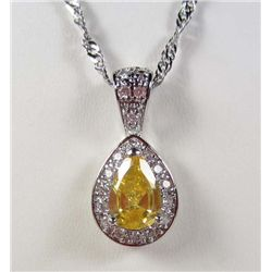 989 - WHITE GOLD PLATED CITRINE & WHITE TOPAZ PENDANT W/ CHAIN