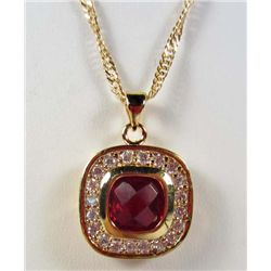 991 - GOLD PLATED RUBY & WHITE TOPAZ PENDANT W/ CHAIN
