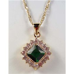 992 - GOLD PLATED EMERALD & WHITE TOPAZ PENDANT W/ CHAIN