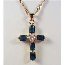 993 - GOLD PLATED BLUE SAPPHIRE & WHITE TOPAZ PENDANT W/ CHAIN