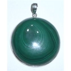 LARGE SOLID STERLING SILVER/GREEN MALACHITE PENDANT RETAIL VALUE IS $168.00 *STAMPED STERLING!!