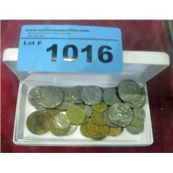 Box of assorted world coins