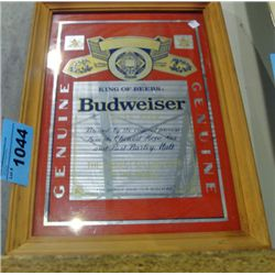 Framed budweiser advertisment mirror