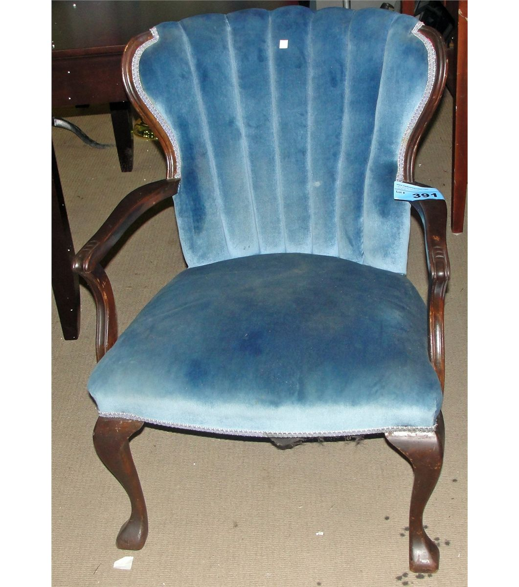 Lovely Antique Blue Valour Upholstered Fan Back Arm Chair. Loading Zoom