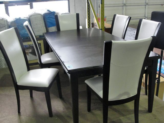 Dining room table with one leaf and 6 white for White dining room table with leaf