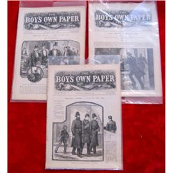 Lot of 3 Original 1885 Boy's Own Paper Magazines