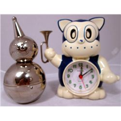 Vintage Metal Clown Bank And Kaiser Clock