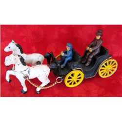 Cast Iron 2-Horse Team Carriage Plus Drivers