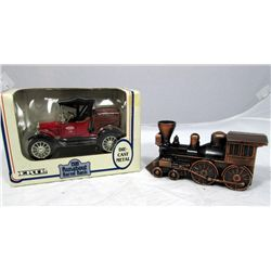 Bank Lot Die Cast Metal Truck And Copper Train