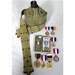 WW II Canteen And Various Medals