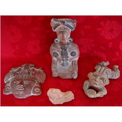 Lot of 4 Mexican Clay Idol Statues & Mask