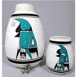 2 Native American Pots And Navajo Pin