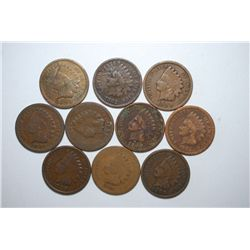 Indian Head One Cent; Various Dates & Conditions; Lot of 10; EST. $10-20