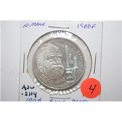 1988-F German 10 Deutsche Mark Foreign Coin; 100th Anniversary Death Carl Zeiss; .3114 ASW; EST. $10