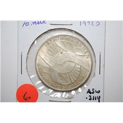 1972-D German 10 Deutsche Mark Foreign Coin; Munich Olympics; .3114 ASW; EST. $15-25