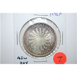 1972-F German 10 Deutsche Mark Foreign Coin; Munich Olympics; .3114 ASW; EST. $10-25