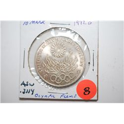 1972-G German 10 Deutsche Mark Foreign Coin; Munich Olympics; .3114 ASW; EST. $10-25
