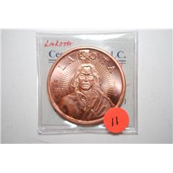 2010 Lakota Copper Round; .999 Fine Copper 1 Oz.; EST. $3-5