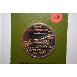 1972 150th Anniversary Of Opening Of Santa Fe Trail Commemorative Medal; New Mexico Historical Socie