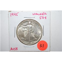 1945 Walking Liberty Half Dollar; AU58; EST. $20-40