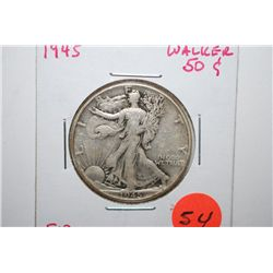1945 Walking Liberty Half Dollar; F12; EST. $15-25