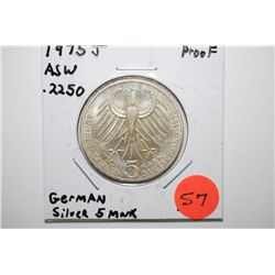 1975-J German 5 Deutsche Mark Foreign Coin; .2250 ASW Silver Proof; EST. $15-30