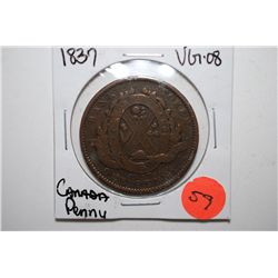 1837 Canada One Penny Foreign Coin; Bank Token; VG8; EST. $5-10