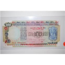 India 100 Rupees Foreign Bank Note; EST. $10-20