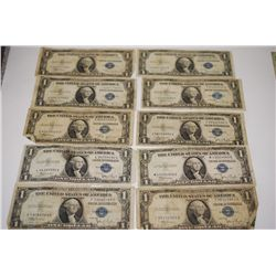 1935-B (3), 1935-C (6) & 1935-D US Silver Certificate $1; Blue Seal; Lot of 10; EST. $20-30