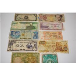 Foreign Bank Note; Various Dates, Conditions & Denominations; Lot of 10; EST. $5-10