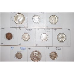 Various US Coins; Penny, Nickel, Dime, Quarter & Half Dollar; Lot of 10; EST. $60-80