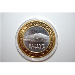 Bally's Las Vegas NV Limited Edition Two-Tone $10 Gaming Token; .999 Fine Silver; EST. $20-25