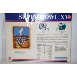 Super Bowl XV Sew-On Patch; Louisiana Superdome New Orleans LA; January 25, 1981; Oakland Raiders VS