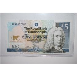 2005 Scotland 5 (Five) Pounds Sterling Foreign Bank Note; EST. $10-20