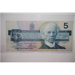 1986 Canada $5 (Cinq) Foreign Bank Note; EST. $5-10
